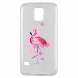 Чехол для Samsung S5 Flamingo pink and spray