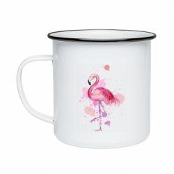 Кружка эмалированная Flamingo pink and spray