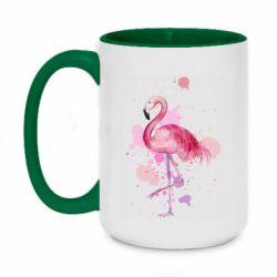 Кружка двухцветная 420ml Flamingo pink and spray