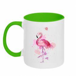 Кружка двухцветная 320ml Flamingo pink and spray
