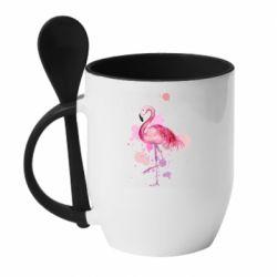 Кружка с керамической ложкой Flamingo pink and spray