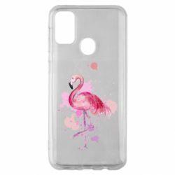 Чехол для Samsung M30s Flamingo pink and spray