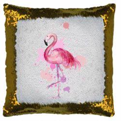Подушка-хамелеон Flamingo pink and spray