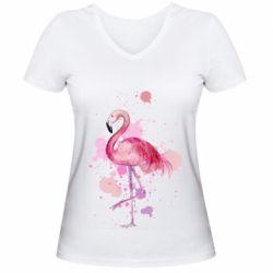Женская футболка с V-образным вырезом Flamingo pink and spray