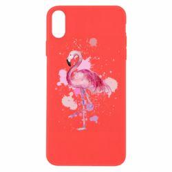 Чехол для iPhone X/Xs Flamingo pink and spray