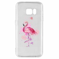 Чехол для Samsung S7 Flamingo pink and spray