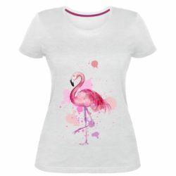 Женская стрейчевая футболка Flamingo pink and spray