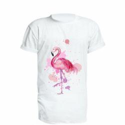 Удлиненная футболка Flamingo pink and spray