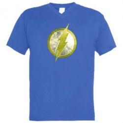 Мужская футболка  с V-образным вырезом Flash Logo - FatLine