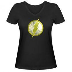 Женская футболка с V-образным вырезом Flash Logo - FatLine