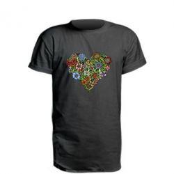 Удлиненная футболка Flower heart - FatLine