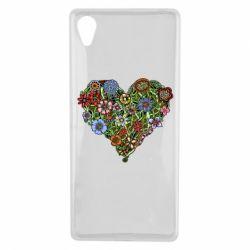 Чехол для Sony Xperia X Flower heart - FatLine