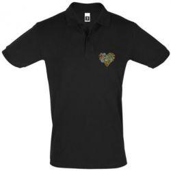 Мужская футболка поло Flower heart - FatLine