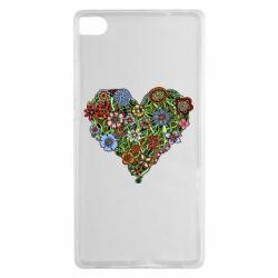 Чехол для Huawei P8 Flower heart - FatLine