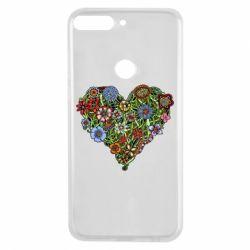Чехол для Huawei Y7 Prime 2018 Flower heart - FatLine