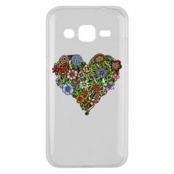 Чехол для Samsung J2 2015 Flower heart - FatLine