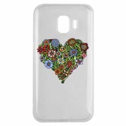 Чехол для Samsung J2 2018 Flower heart - FatLine