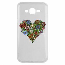 Чехол для Samsung J7 2015 Flower heart - FatLine