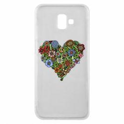 Чехол для Samsung J6 Plus 2018 Flower heart - FatLine