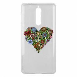 Чехол для Nokia 8 Flower heart - FatLine