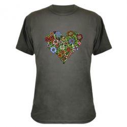 Камуфляжная футболка Flower heart - FatLine