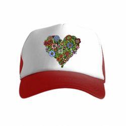 Дитяча кепка-тракер Flower heart