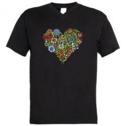 Мужская футболка  с V-образным вырезом Flower heart - FatLine