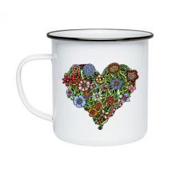 Кружка эмалированная Flower heart - FatLine