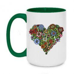 Кружка двухцветная 420ml Flower heart - FatLine