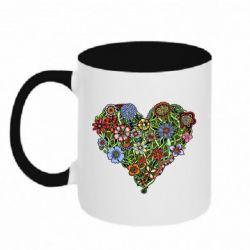 Кружка двухцветная 320ml Flower heart - FatLine