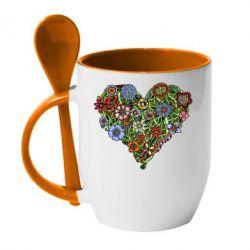Кружка с керамической ложкой Flower heart - FatLine