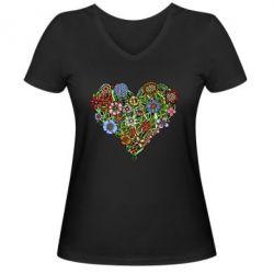 Женская футболка с V-образным вырезом Flower heart - FatLine