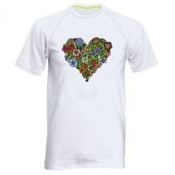 Мужская спортивная футболка Flower heart - FatLine