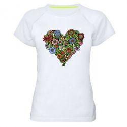 Женская спортивная футболка Flower heart - FatLine