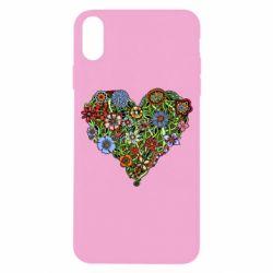 Чехол для iPhone X Flower heart - FatLine