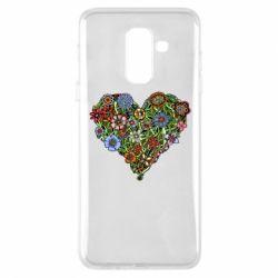 Чехол для Samsung A6+ 2018 Flower heart - FatLine