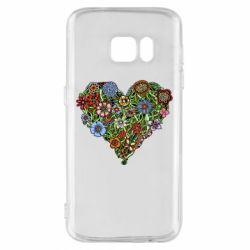Чехол для Samsung S7 Flower heart - FatLine