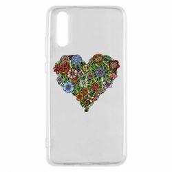 Чехол для Huawei P20 Flower heart - FatLine