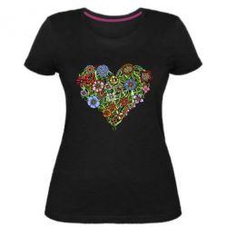 Женская стрейчевая футболка Flower heart - FatLine
