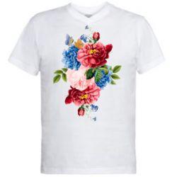Чоловіча футболка з V-подібним вирізом Flowers and butterfly