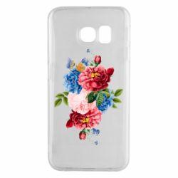 Чохол для Samsung S6 EDGE Flowers and butterfly