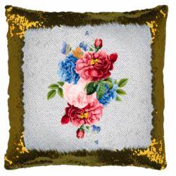 Подушка-хамелеон Flowers and butterfly
