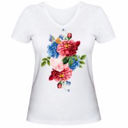 Жіноча футболка з V-подібним вирізом Flowers and butterfly