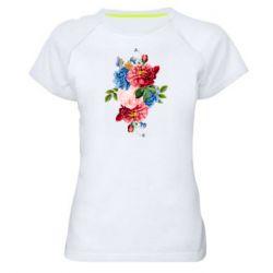 Жіноча спортивна футболка Flowers and butterfly