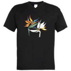 Мужская футболка  с V-образным вырезом Flowers art painting