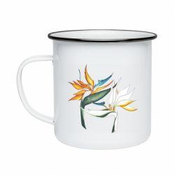 Кружка емальована Flowers art painting