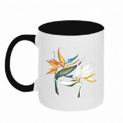Кружка двухцветная 320ml Flowers art painting