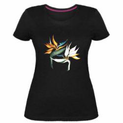 Жіноча стрейчева футболка Flowers art painting