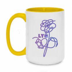 Кружка двухцветная 420ml Flowers line bts