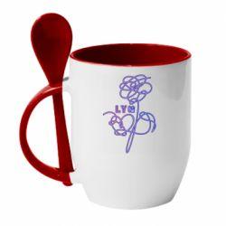 Кружка с керамической ложкой Flowers line bts